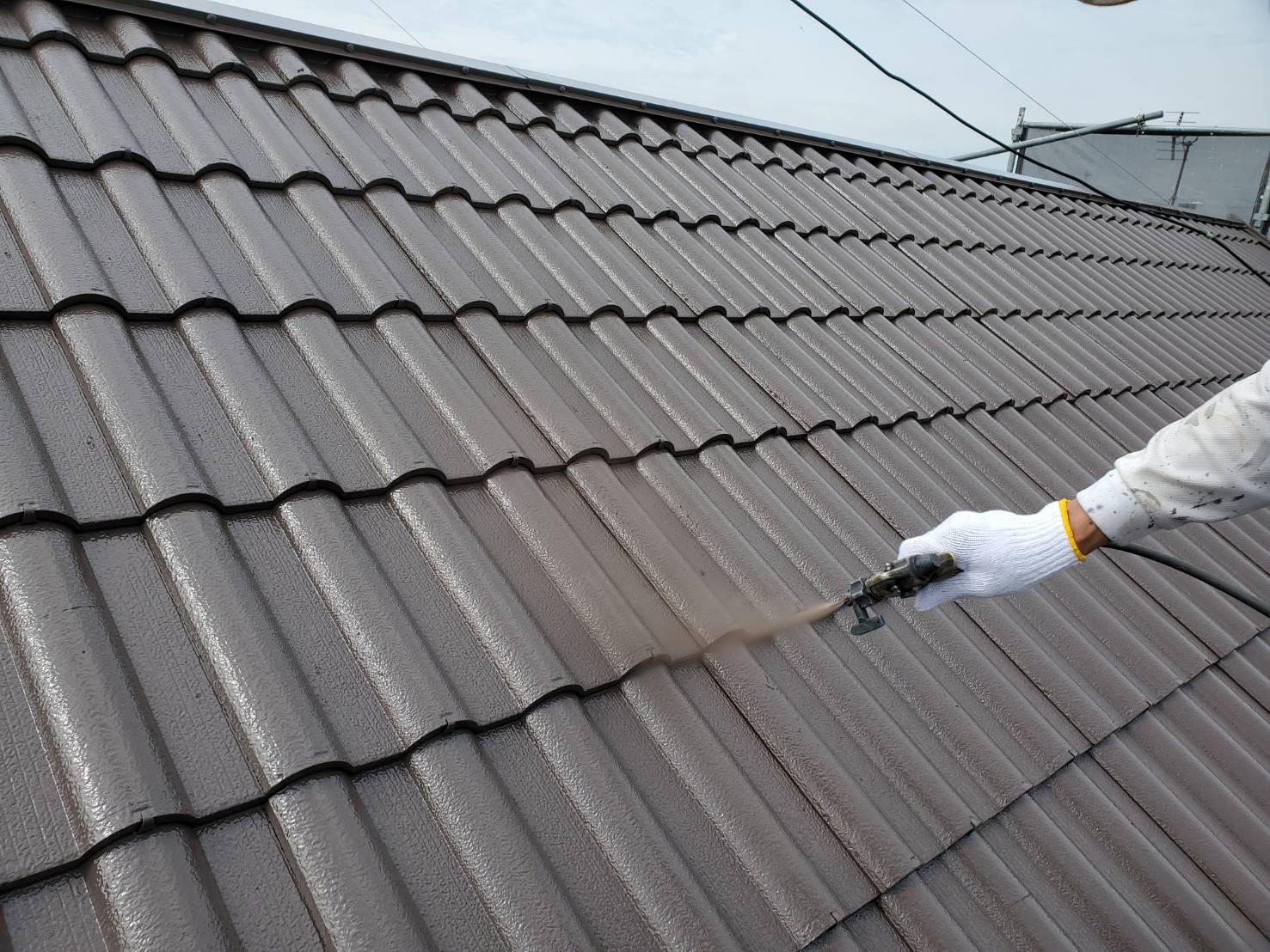 屋根塗装 佐賀 洋瓦 塗装 吹き付け塗装