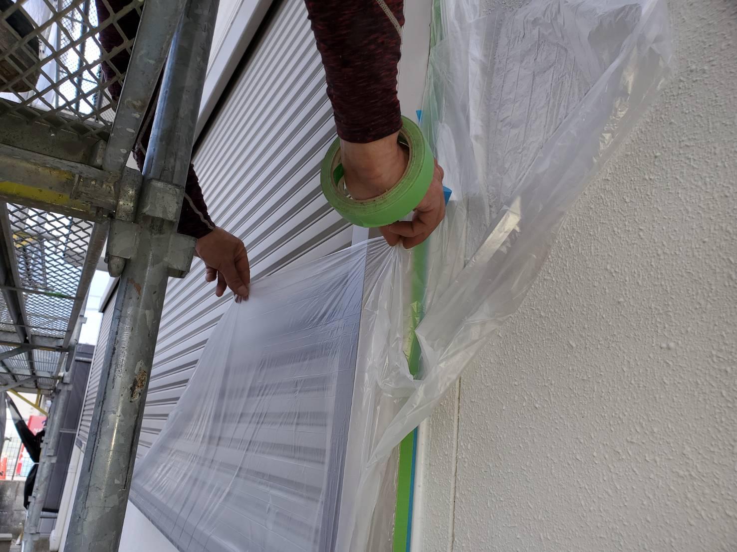 佐賀市 外壁塗装 養生 サニー建設商事 塗るばい