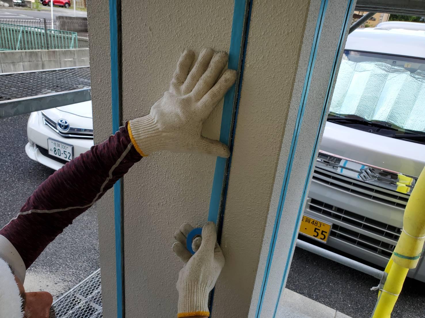 外壁塗装 養生 塗るばい サニー建設商事 佐賀市 コーキング 養生