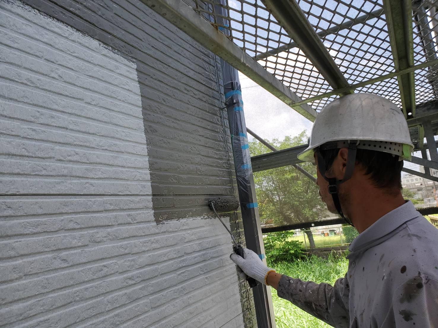外壁塗装 佐賀 外壁 サイディング 塗装 中塗り