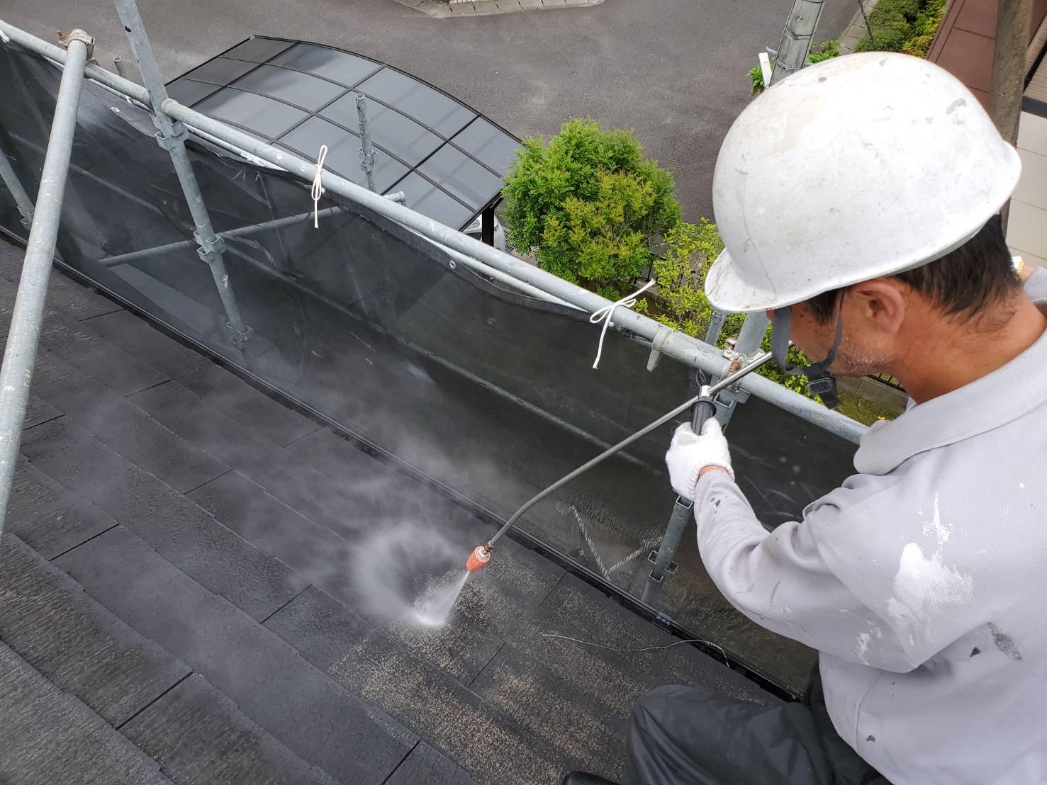 外壁塗装 佐賀 スレート屋根 コロニアル屋根 高圧洗浄