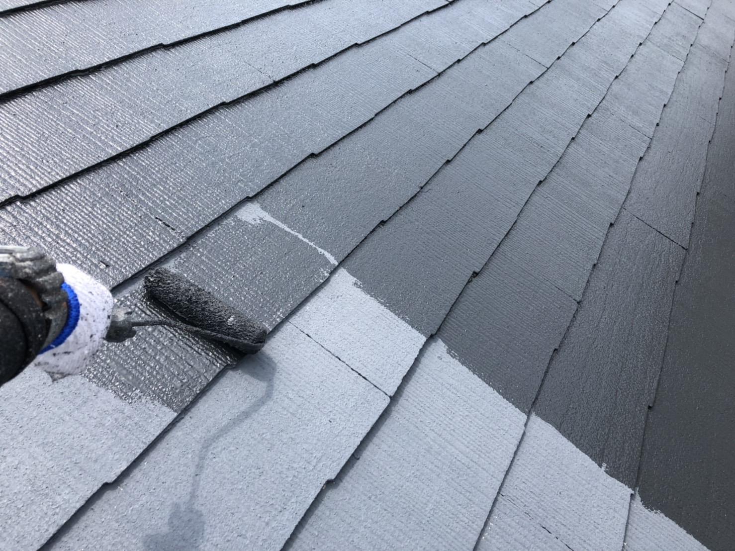 外壁塗装 佐賀 コロニアル屋根 スレート屋根 上塗り