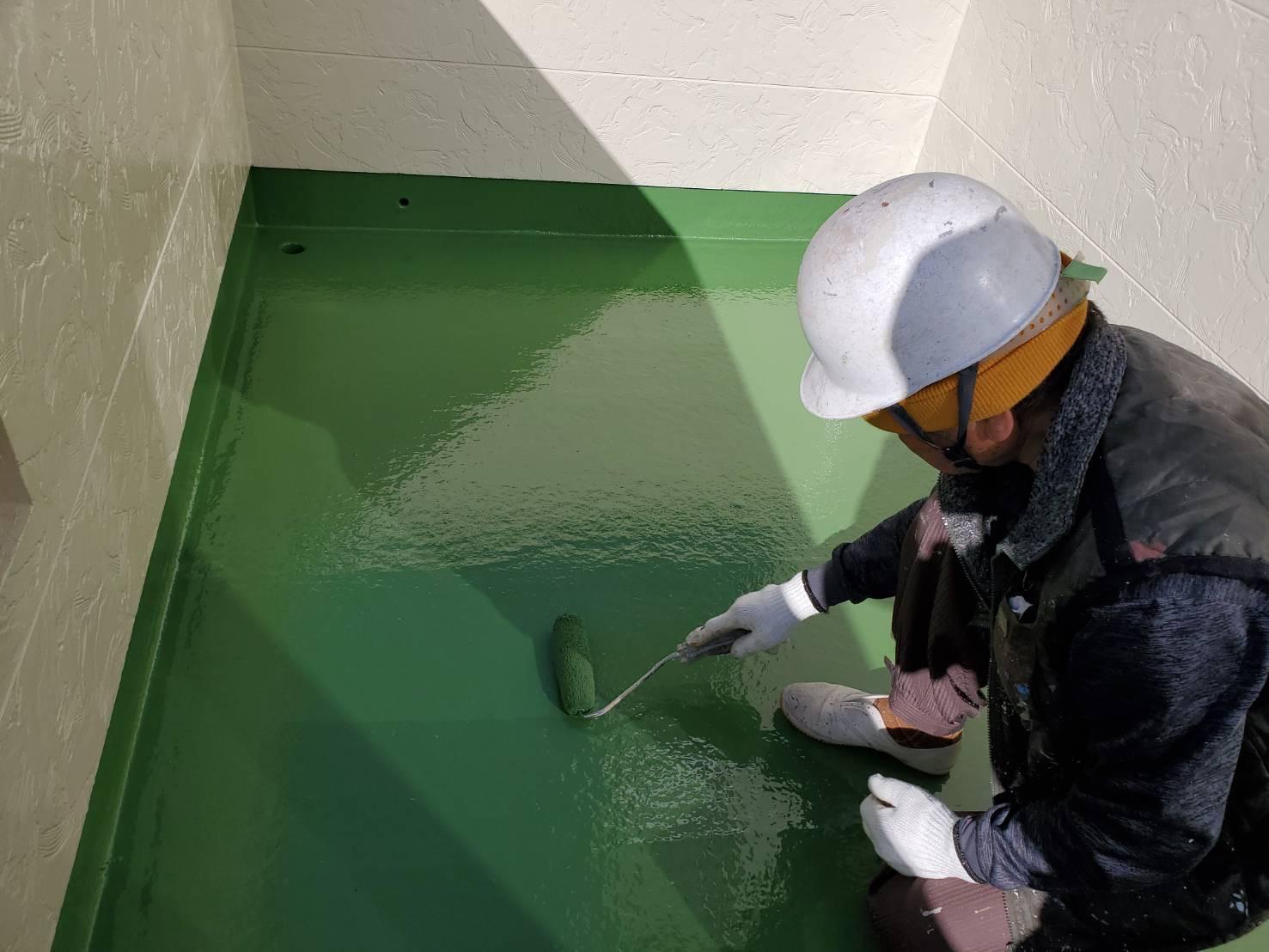外壁塗装 佐賀 ベランダ 塗装 防水 上塗り