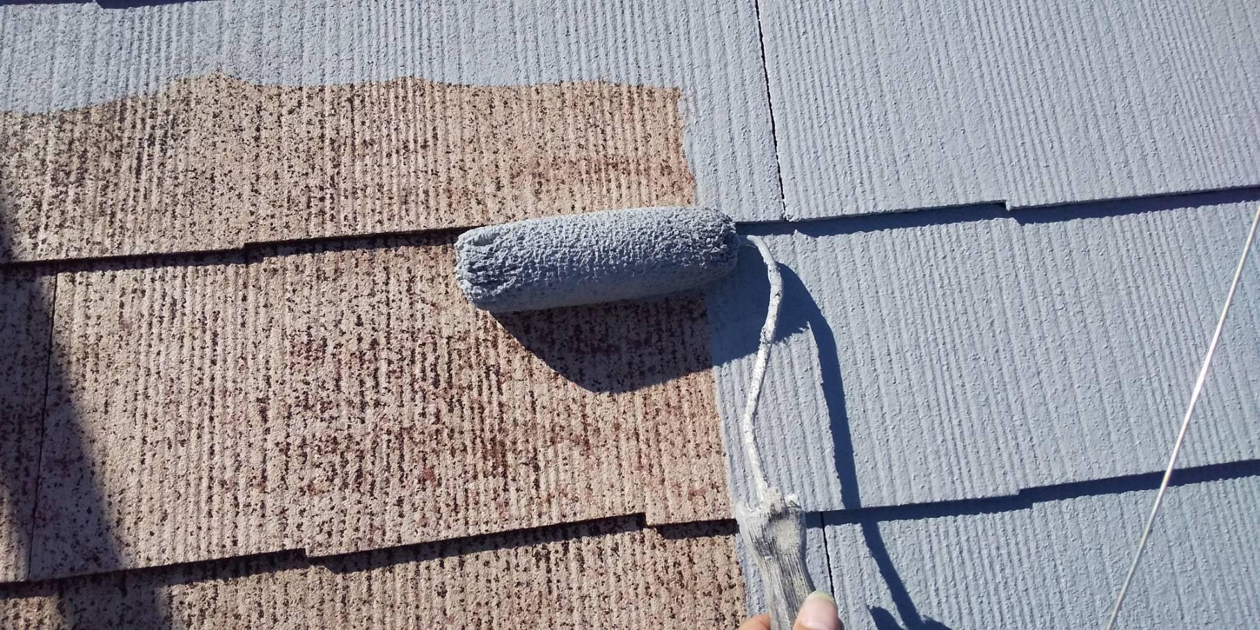 外壁塗装 佐賀 スレート屋根 コロニアル屋根 中塗り