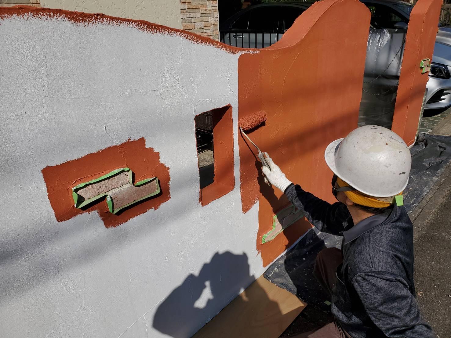 外壁塗装 佐賀 塀 塗装 上塗り
