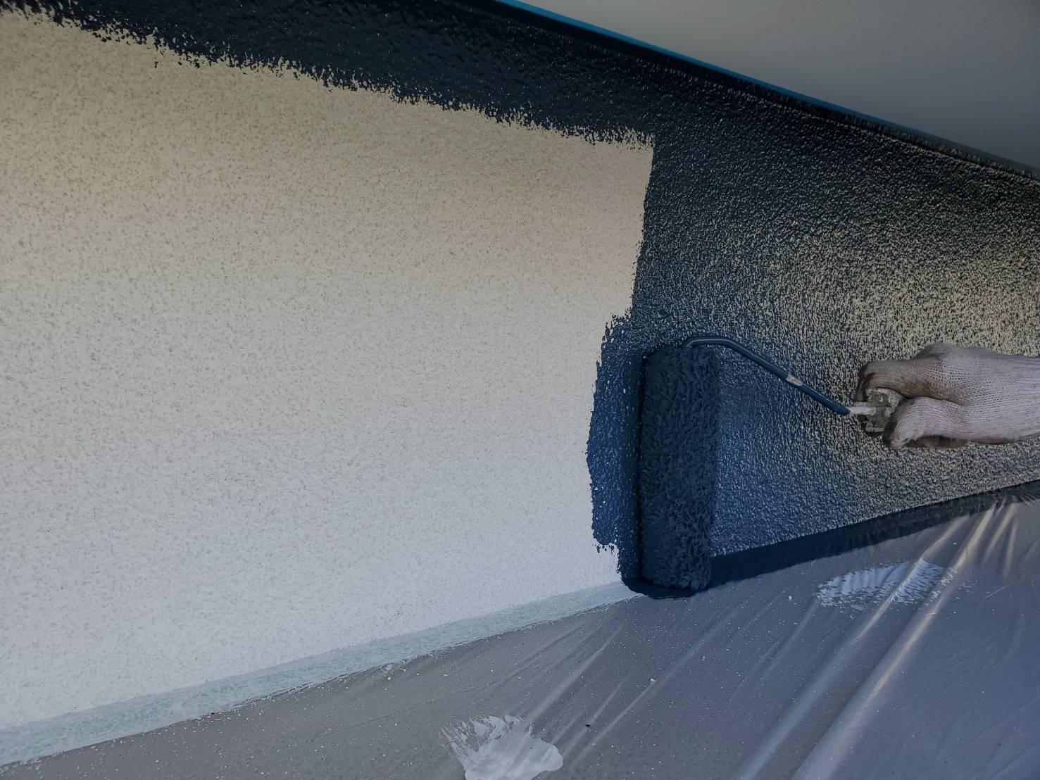 外壁塗装 佐賀 ガレージ 外壁 中塗り モルタル