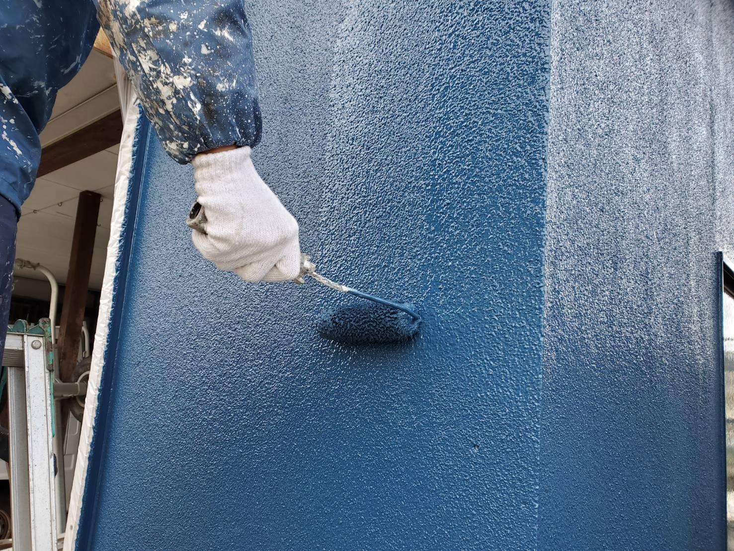 外壁塗装 佐賀 ガレージ 外壁 上塗り モルタル