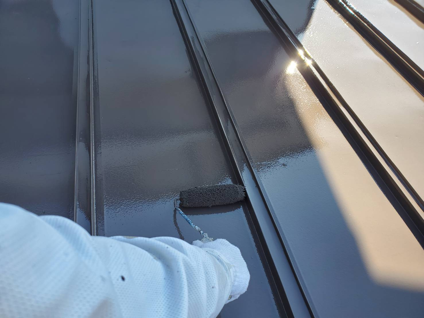 外壁塗装 佐賀 トタン屋根 上塗り