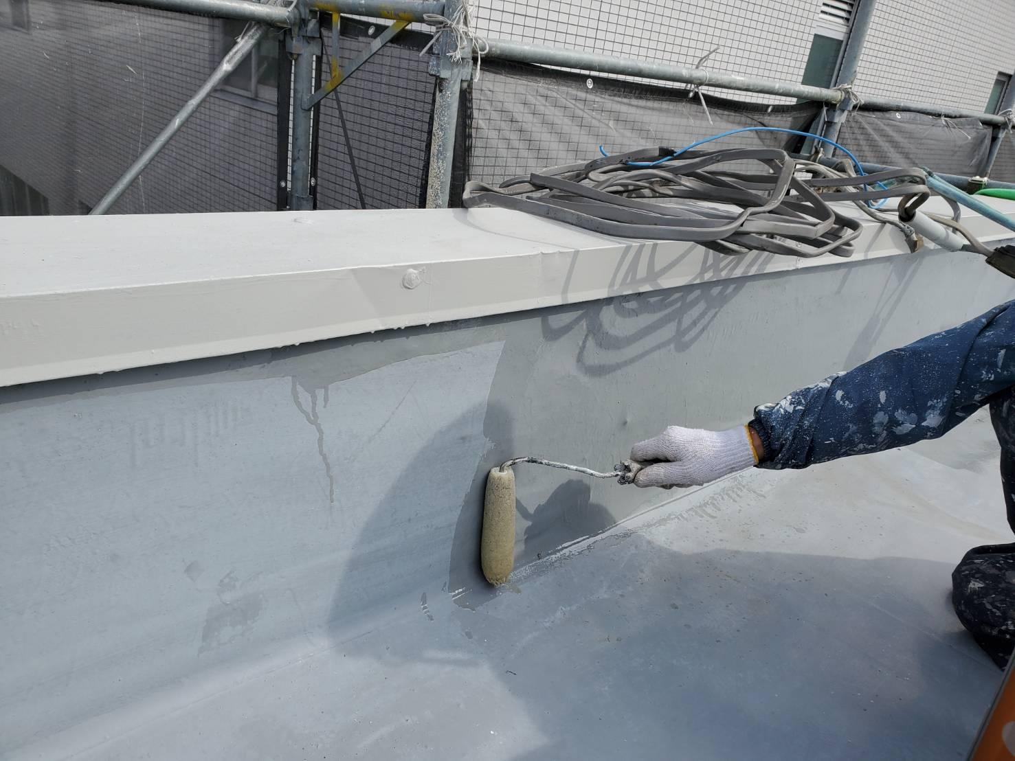 外壁塗装 佐賀 屋上 下塗り