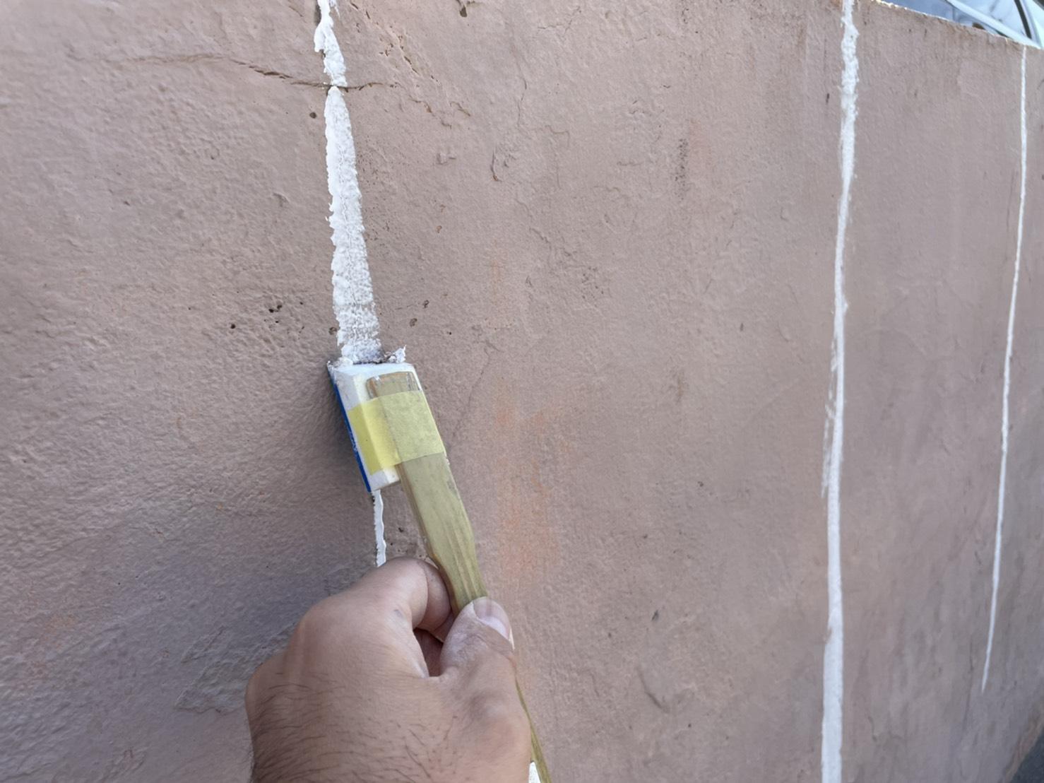 外壁塗装 佐賀 塀塗装 クラック ひび割れ 補修