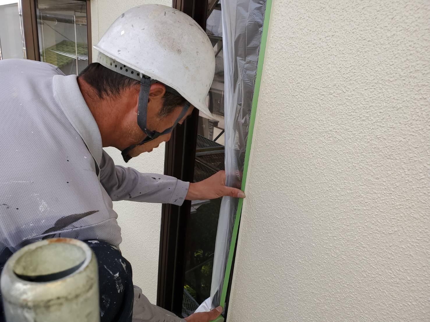 外壁塗装 佐賀 外壁 下地処理 養生
