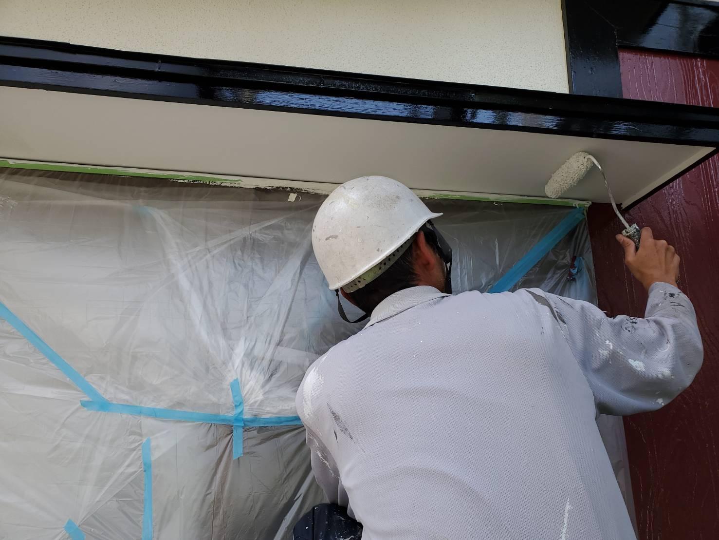 外壁塗装 佐賀 付帯部 軒下天井 軒天 塗装 上塗り