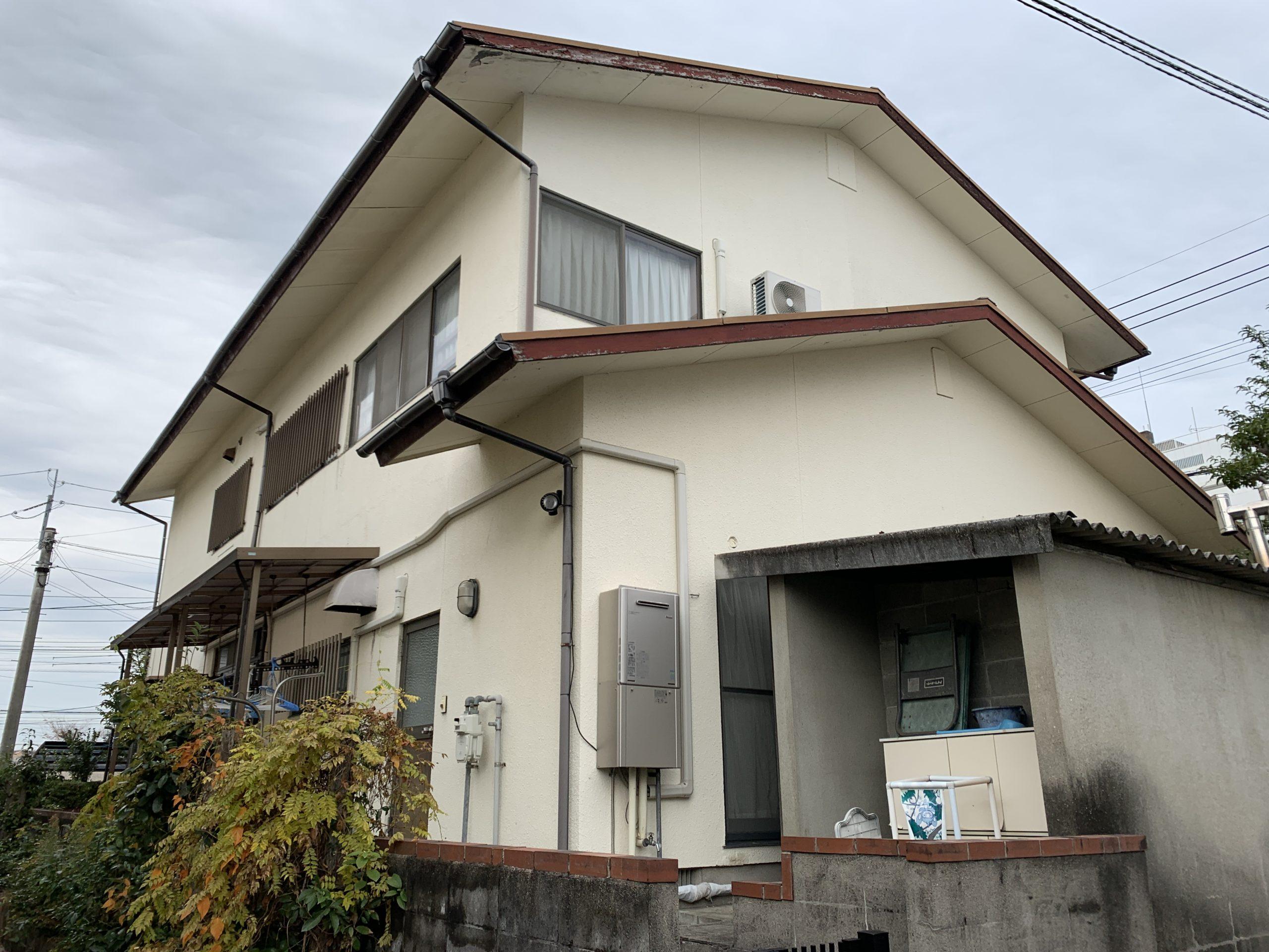 外壁塗装 佐賀 コロニアル屋根 スレート屋根 雨樋 破風板