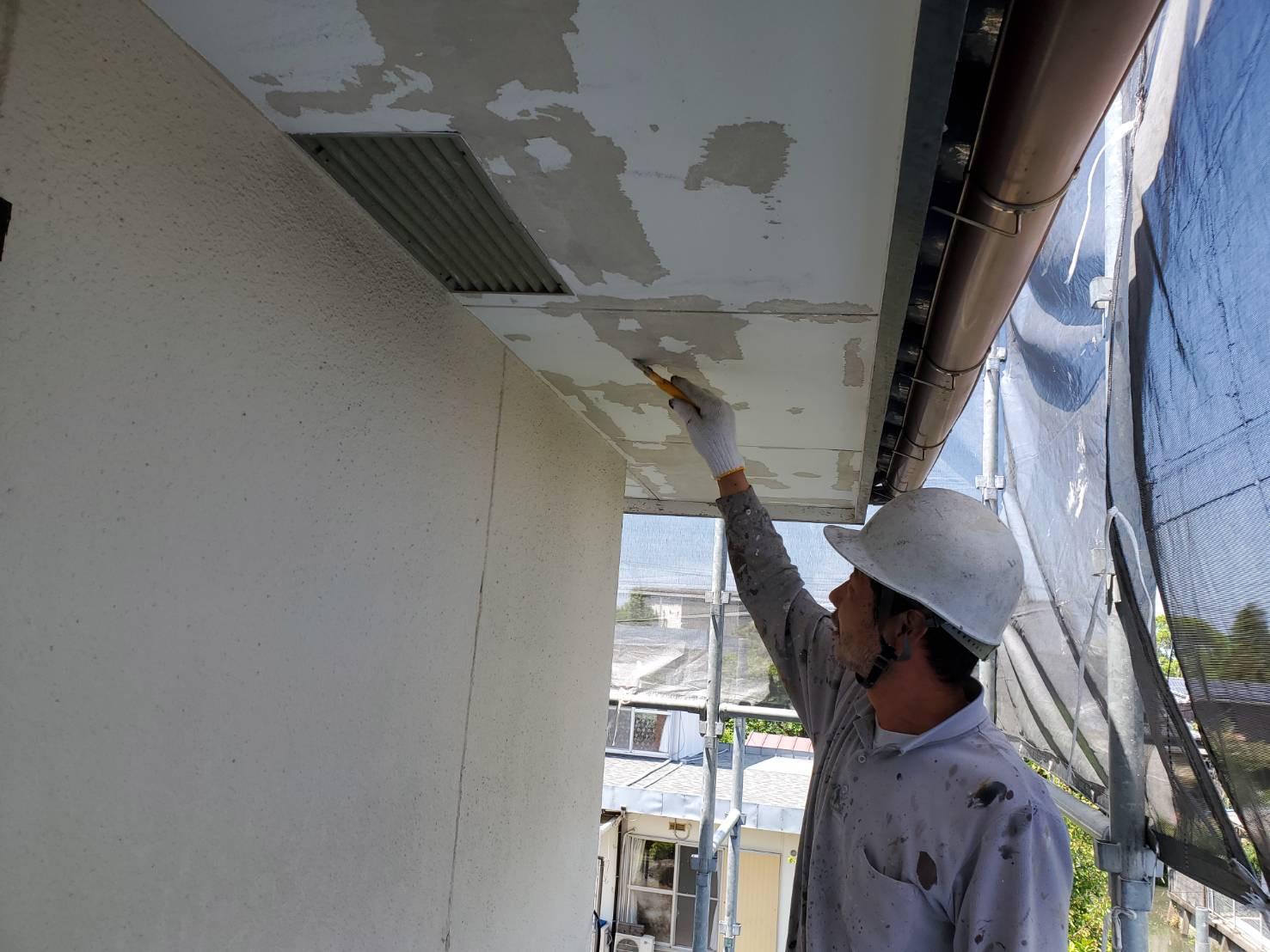 外壁塗装 佐賀 軒下天井 下地処理