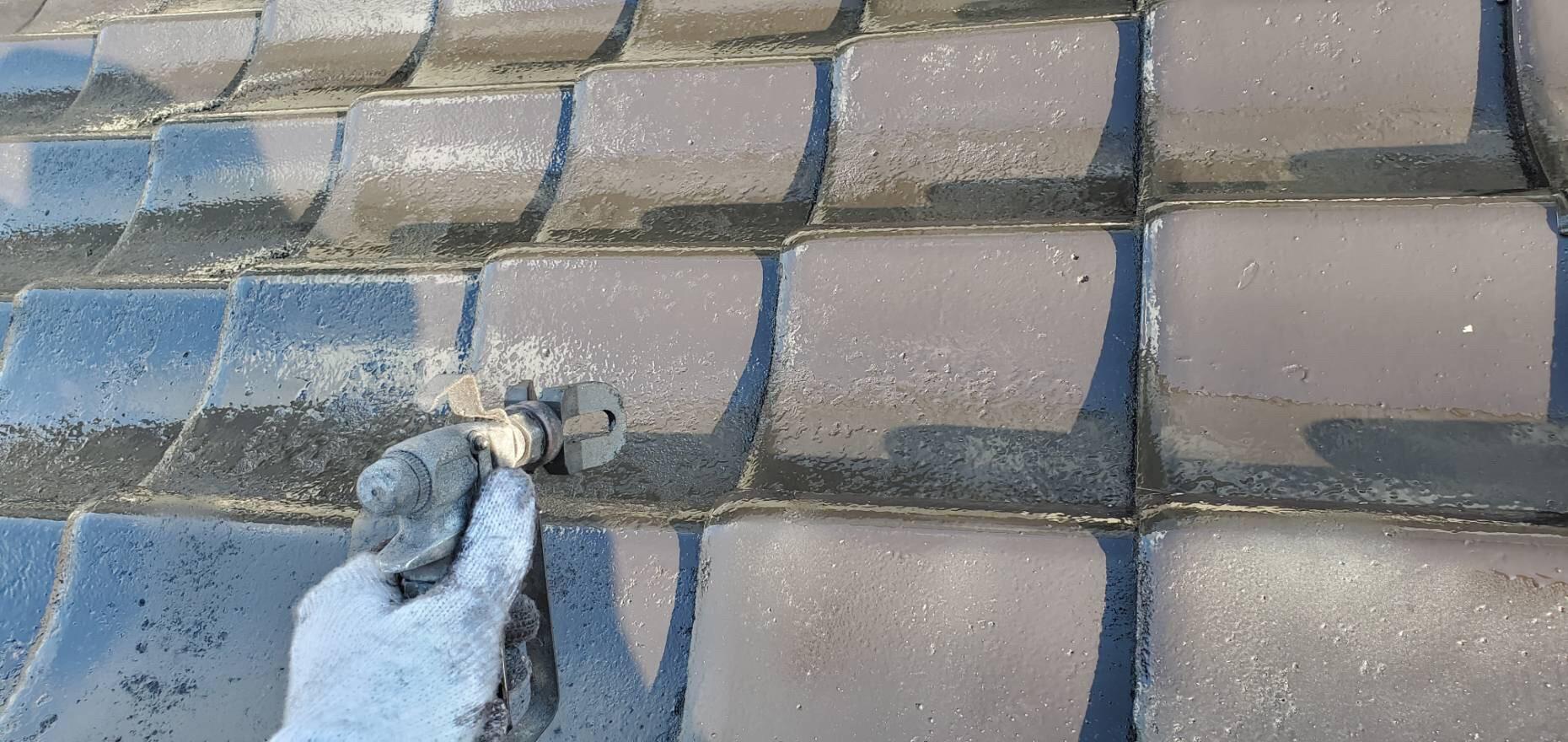 外壁塗装 屋根塗装 佐賀 瓦屋根 上塗り