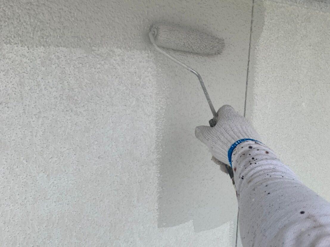 外壁塗装 佐賀 施工事例 サイディングボード 塗装 中塗り